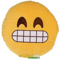 Face with Cheese Smile / Grin Emoji Pillow