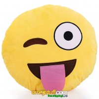 Sticking Out Tongue and Winking Crazy Face Emoji Pillow