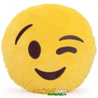Winking Face Emoji Pillow