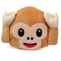 Monkey Covering Ears / Hear No Evil Monkey Emoji Pillow