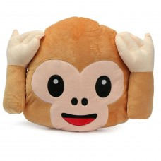 Monkey Covering Ears / Hear No Evil Monkey Emoji Pillow