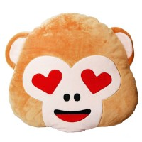 Monkey Face with Heart Eyes Emoji Pillow