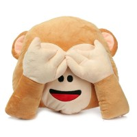 Monkey Covering Eyes / See No Evil Monkey Emoji Pillow