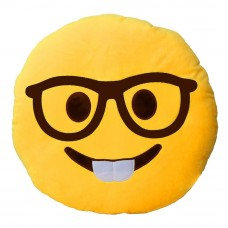 Nerd Face with Glasses Emoji Pillow