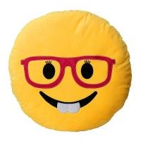 Female Nerd Face with Red Glasses Emoji Pillow